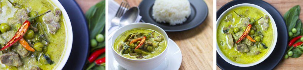 Curry vert de porc et légumes accompagné de riz basmati