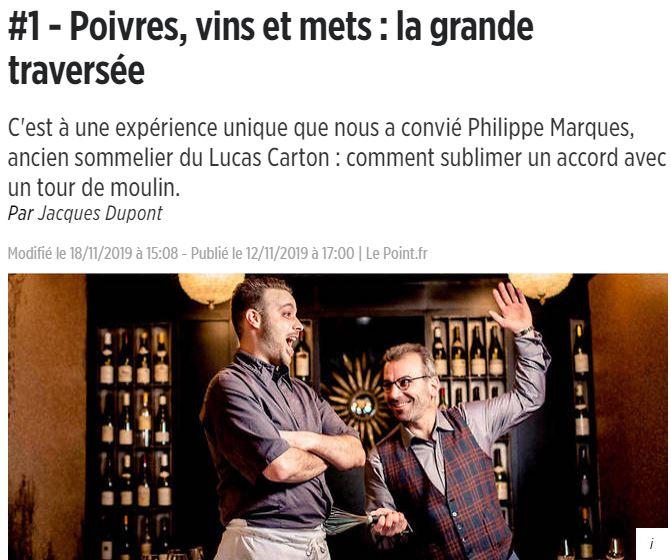 Le point : Poivres vins et mets