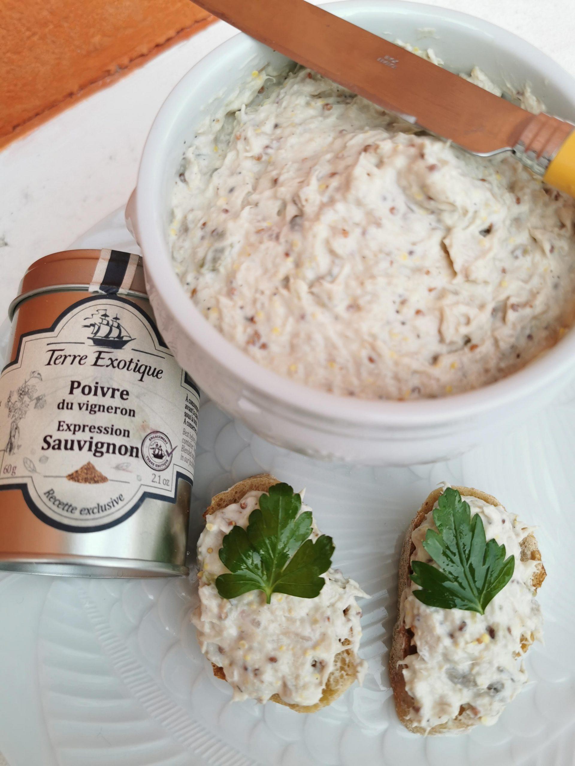 recette rillettes de Maquereau à la moutarde et au poivre du vigneron, expression Sauvignon - Terre Exotique